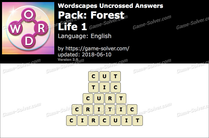 Wordscapes Uncrossed Forest-Life 1 Answers