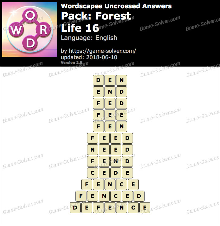 Wordscapes Uncrossed Forest-Life 16 Answers