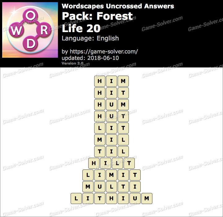 Wordscapes Uncrossed Forest-Life 20 Answers