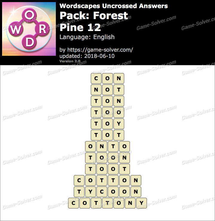 Wordscapes Uncrossed Forest-Pine 12 Answers