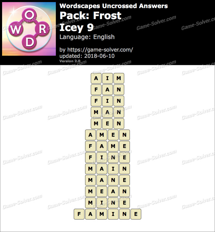 Wordscapes Uncrossed Frost-Icey 9 Answers
