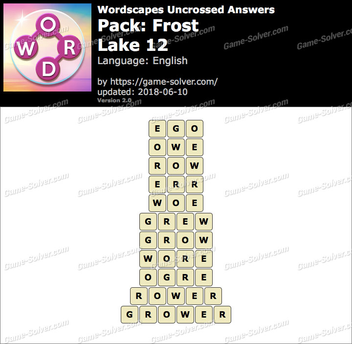 Wordscapes Uncrossed Frost-Lake 12 Answers