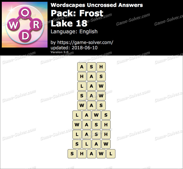 Wordscapes Uncrossed Frost-Lake 18 Answers