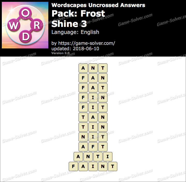 Wordscapes Uncrossed Frost-Shine 3 Answers