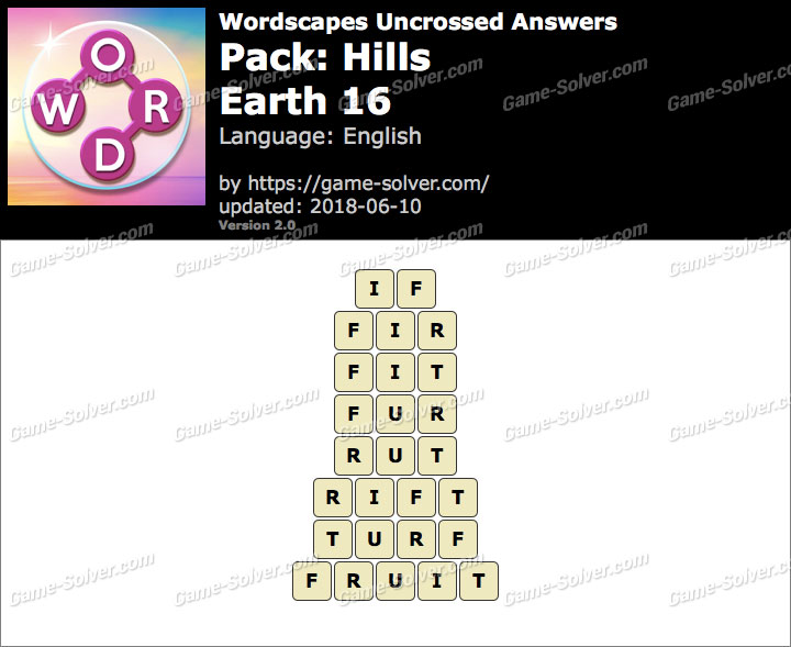 Wordscapes Uncrossed Hills-Earth 16 Answers