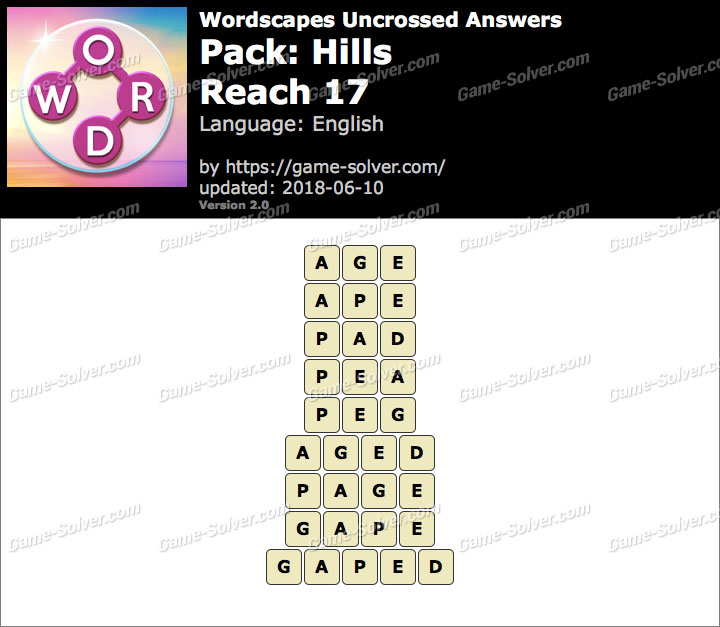 Wordscapes Uncrossed Hills-Reach 17 Answers