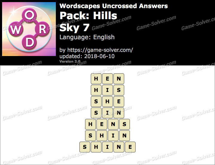 Wordscapes Uncrossed Hills-Sky 7 Answers