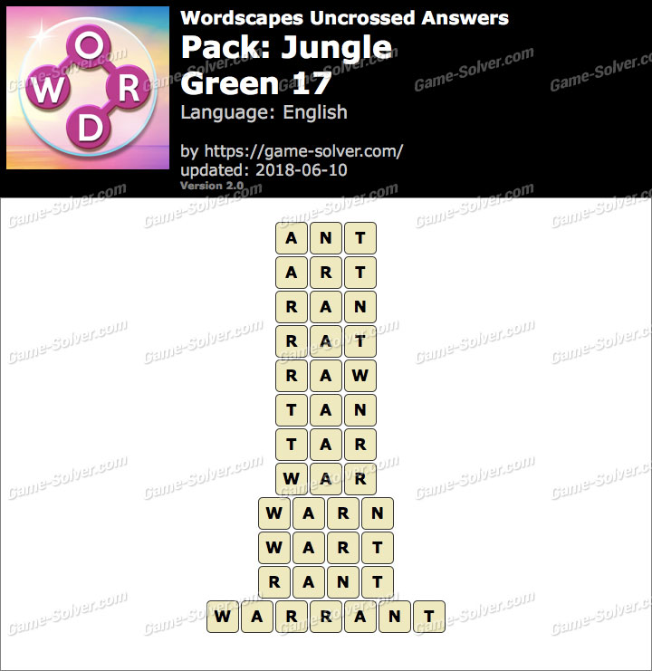 Wordscapes Uncrossed Jungle-Green 17 Answers
