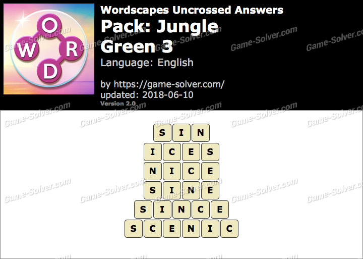 Wordscapes Uncrossed Jungle-Green 3 Answers