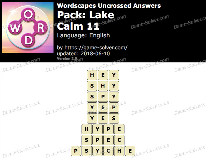 Wordscapes Uncrossed Lake-Calm 11 Answers