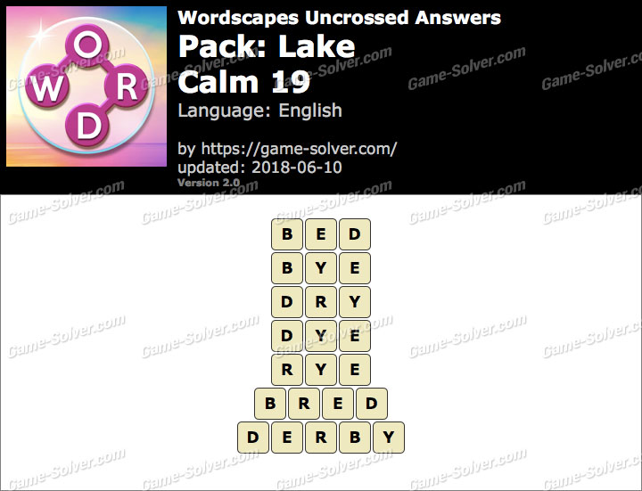 Wordscapes Uncrossed Lake-Calm 19 Answers
