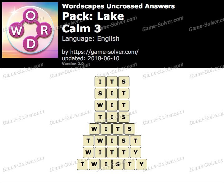 Wordscapes Uncrossed Lake-Calm 3 Answers