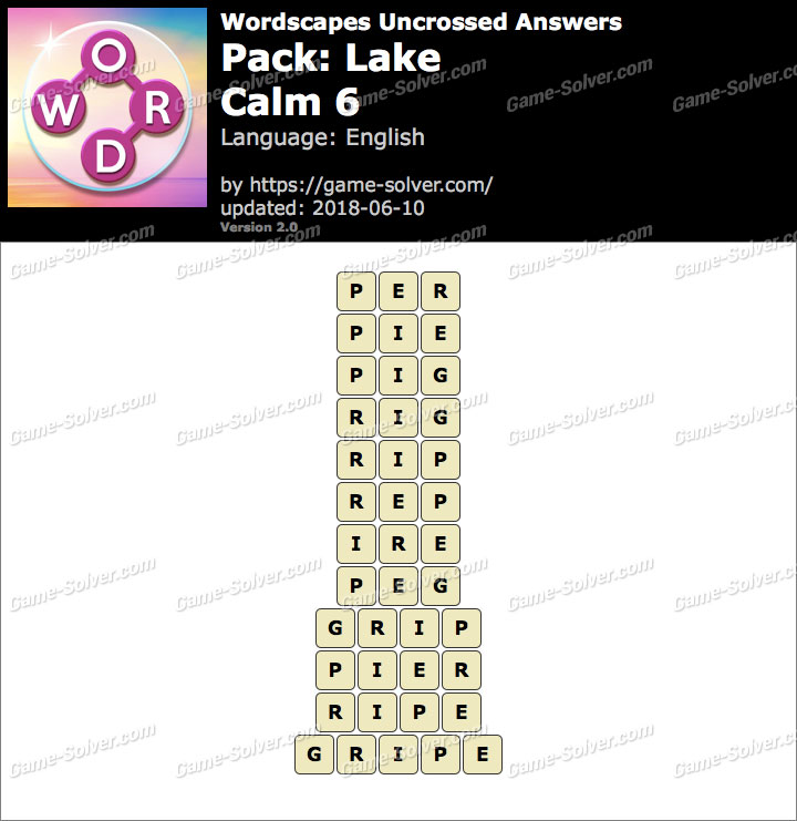Wordscapes Uncrossed Lake-Calm 6 Answers
