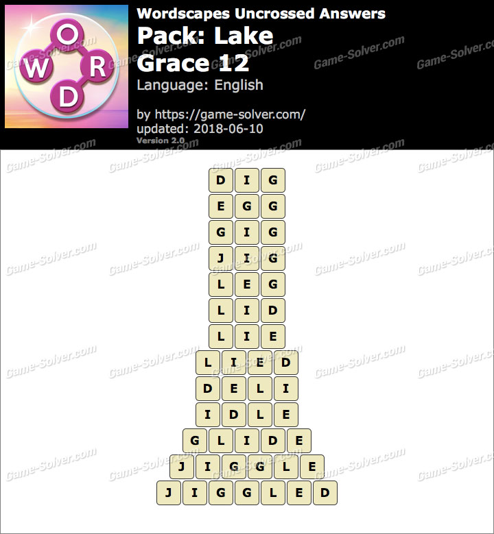 Wordscapes Uncrossed Lake-Grace 12 Answers
