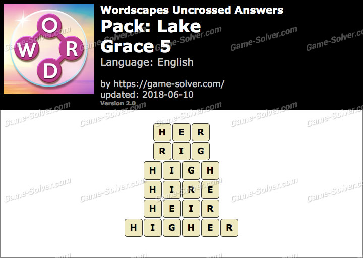 Wordscapes Uncrossed Lake-Grace 5 Answers