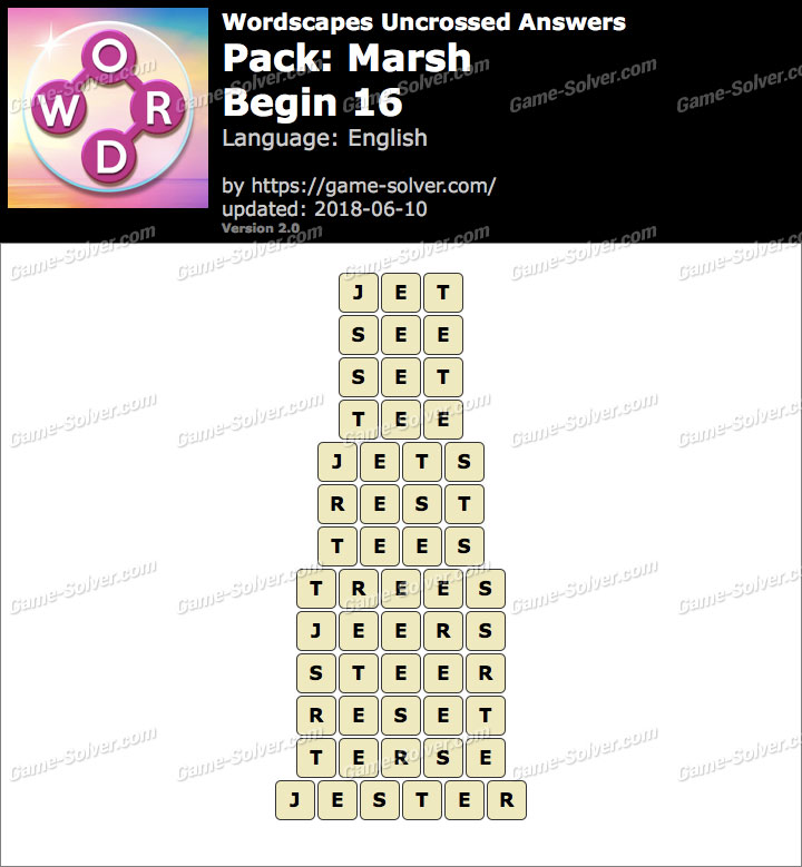 Wordscapes Uncrossed Marsh-Begin 16 Answers