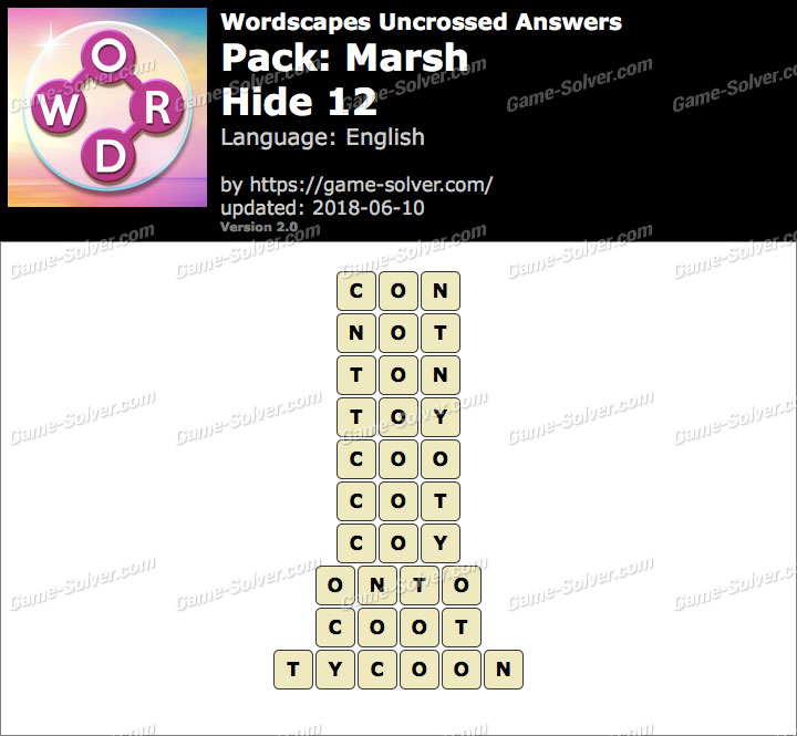 Wordscapes Uncrossed Marsh-Hide 12 Answers