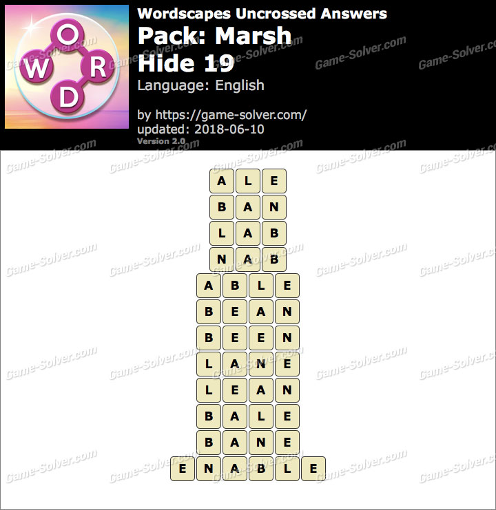 Wordscapes Uncrossed Marsh-Hide 19 Answers