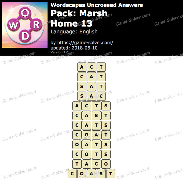 Wordscapes Uncrossed Marsh-Home 13 Answers