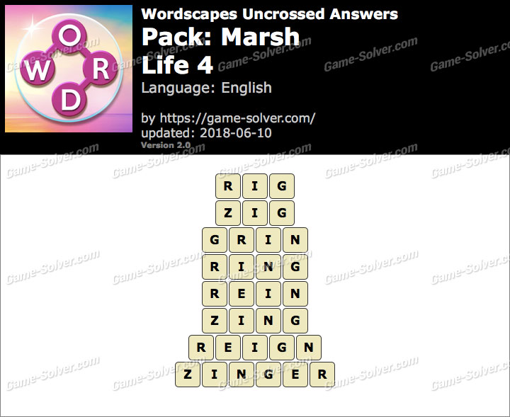 Wordscapes Uncrossed Marsh-Life 4 Answers