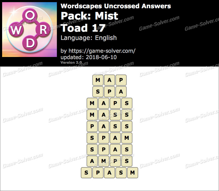 Wordscapes Uncrossed Mist-Toad 17 Answers