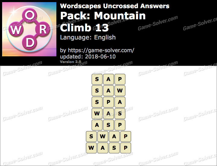 Wordscapes Uncrossed Mountain-Climb 13 Answers