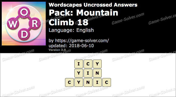 Wordscapes Uncrossed Mountain-Climb 18 Answers