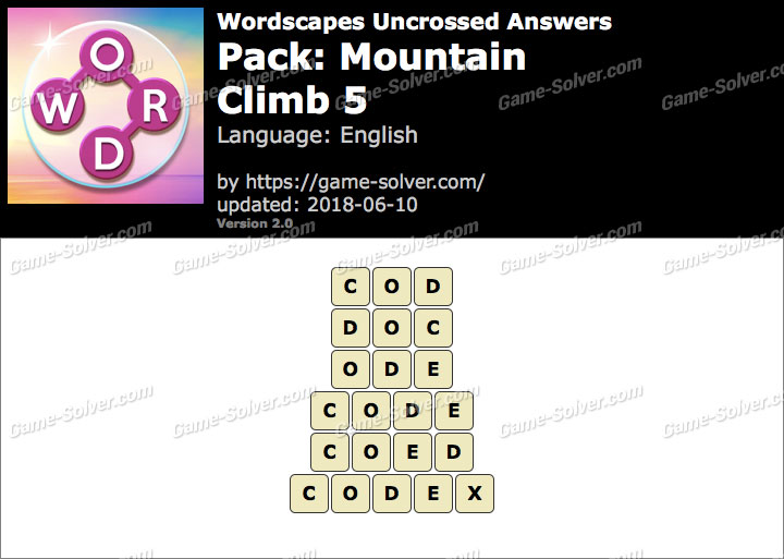 Wordscapes Uncrossed Mountain-Climb 5 Answers