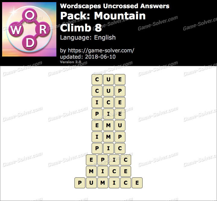Wordscapes Uncrossed Mountain-Climb 8 Answers