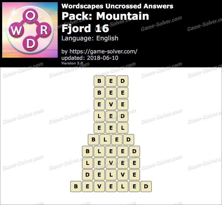 Wordscapes Uncrossed Mountain-Fjord 16 Answers