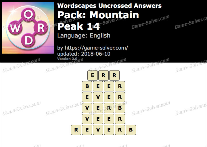 Wordscapes Uncrossed Mountain-Peak 14 Answers