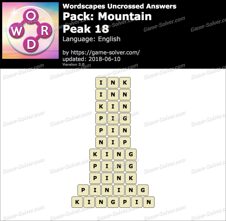 Wordscapes Uncrossed Mountain-Peak 18 Answers