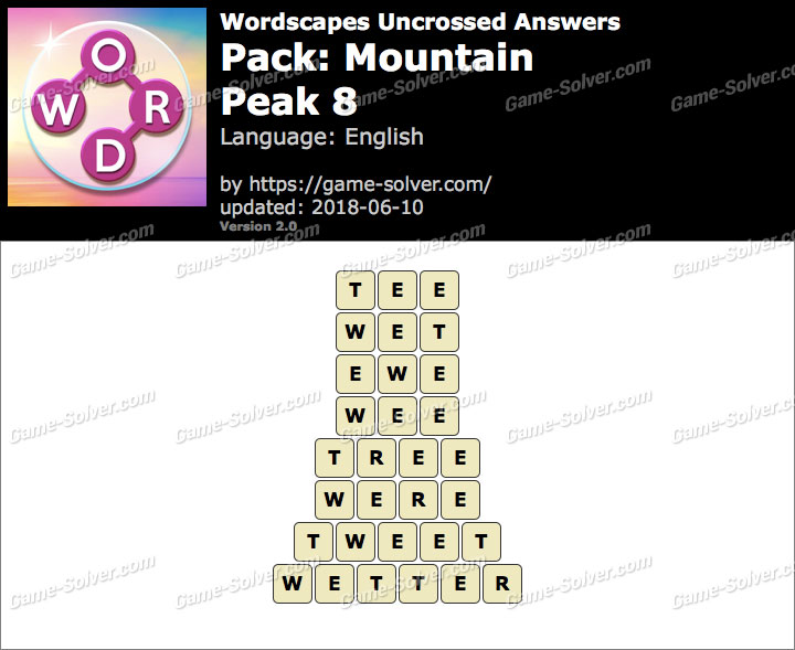 Wordscapes Uncrossed Mountain-Peak 8 Answers
