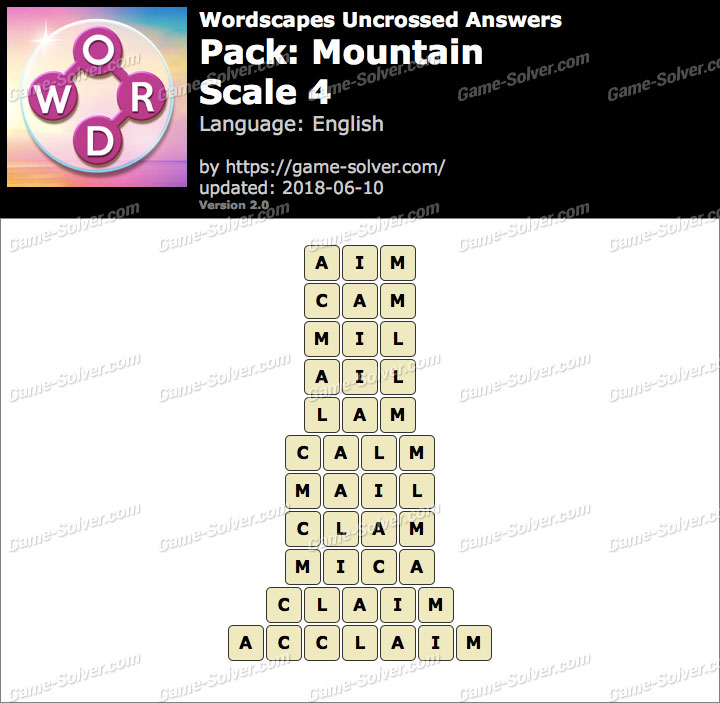 Wordscapes Uncrossed Mountain-Scale 4 Answers