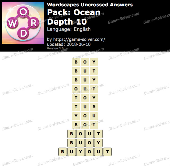 Wordscapes Uncrossed Ocean-Depth 10 Answers