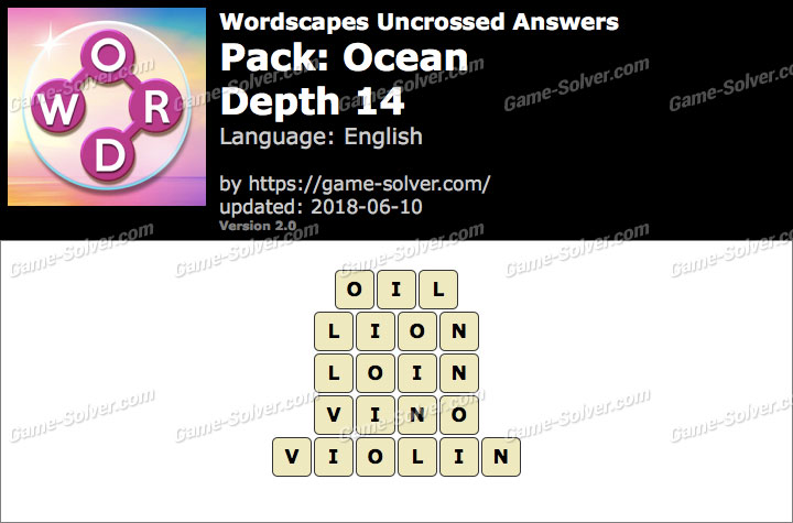 Wordscapes Uncrossed Ocean-Depth 14 Answers