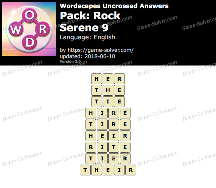 Wordscapes Uncrossed Rock-Serene 9 Answers