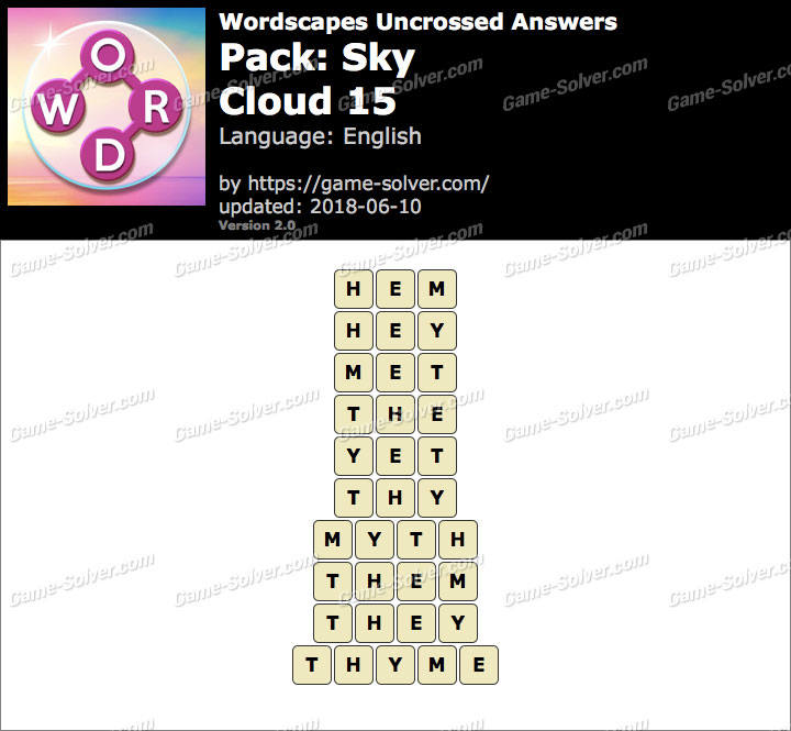 Wordscapes Uncrossed Sky-Cloud 15 Answers