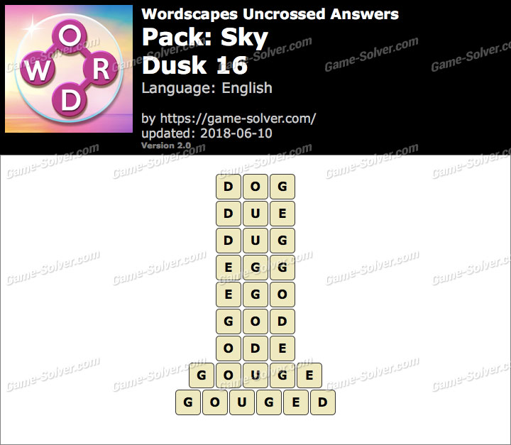 Wordscapes Uncrossed Sky-Dusk 16 Answers