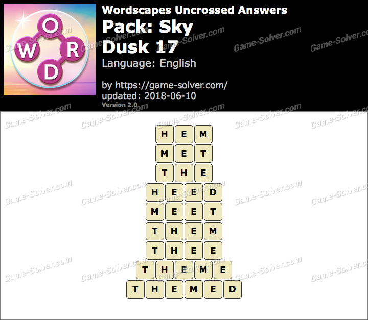 Wordscapes Uncrossed Sky-Dusk 17 Answers