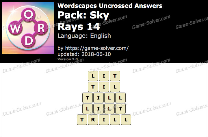 Wordscapes Uncrossed Sky-Rays 14 Answers