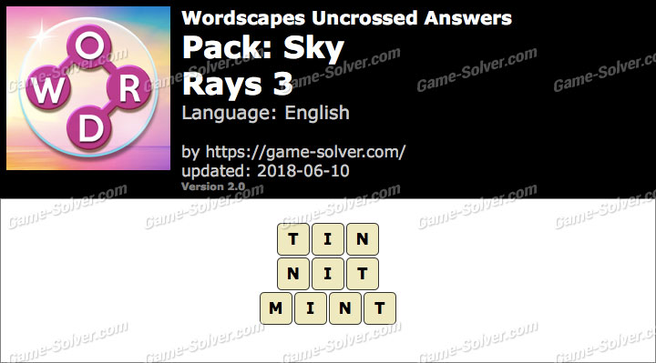 Wordscapes Uncrossed Sky-Rays 3 Answers