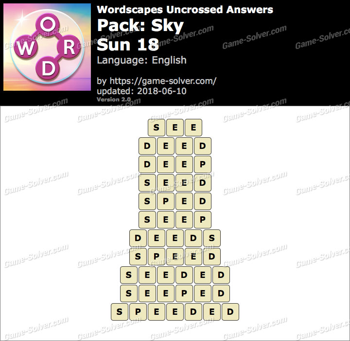 Wordscapes Uncrossed Sky-Sun 18 Answers