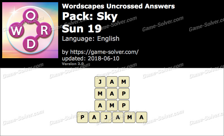 Wordscapes Uncrossed Sky-Sun 19 Answers