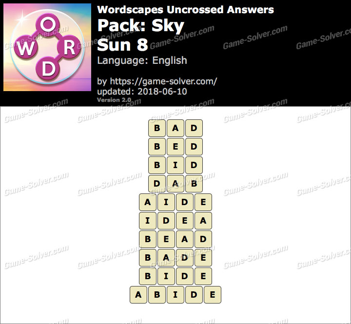 Wordscapes Uncrossed Sky-Sun 8 Answers
