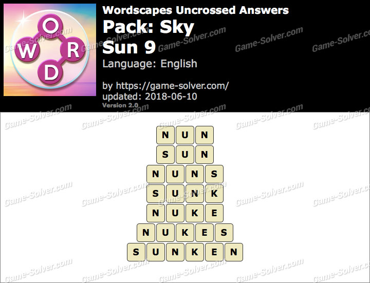 Wordscapes Uncrossed Sky-Sun 9 Answers