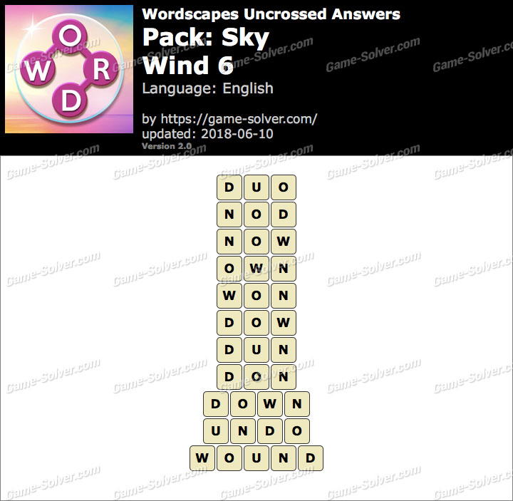 Wordscapes Uncrossed Sky-Wind 6 Answers