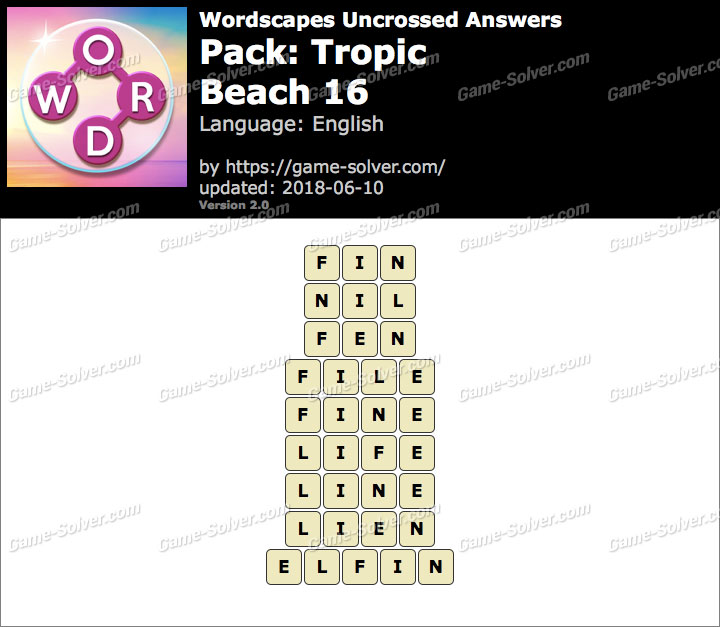 Wordscapes Uncrossed Tropic-Beach 16 Answers
