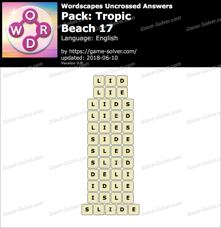 Wordscapes Uncrossed Tropic-Beach 17 Answers