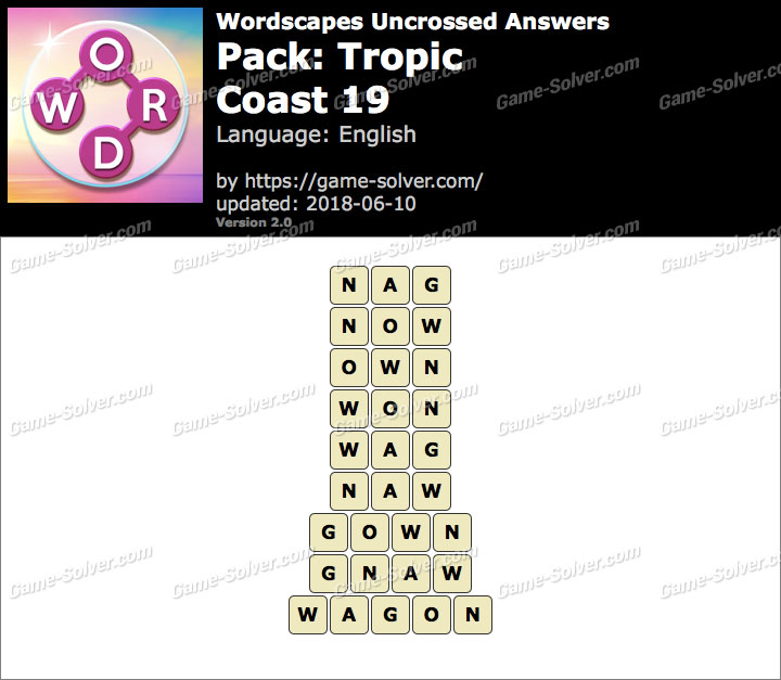 Wordscapes Uncrossed Tropic-Coast 19 Answers